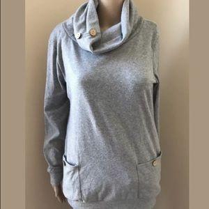 Leo Rosi Button Turtleneck Sweater Gray Small
